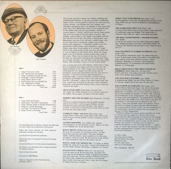 Joe Holmes and Len Graham - Chaste Muses, Bards and Sages reverse